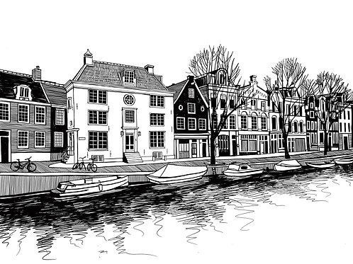 Boats and houses on a canal of Amsterdam, Netherlands