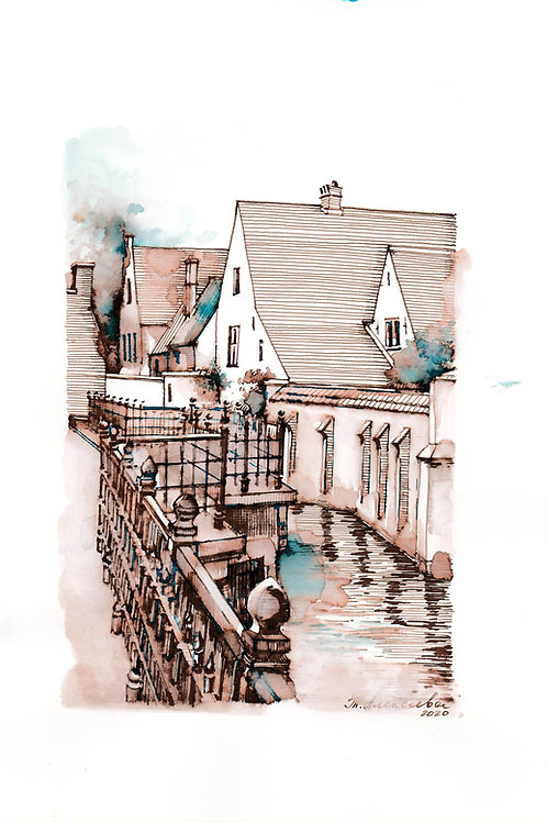 Ancient houses of Bruges, Belgium.