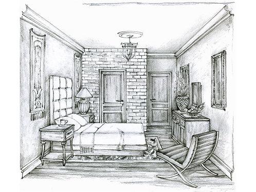Traditional Bedroom. Interior Design Sketching