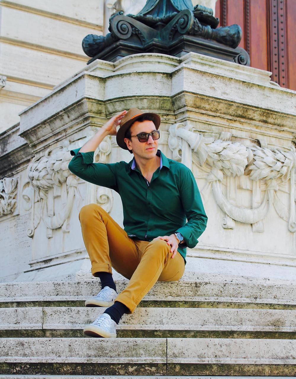 Miguel Biedma en la Plaza de España de Roma
