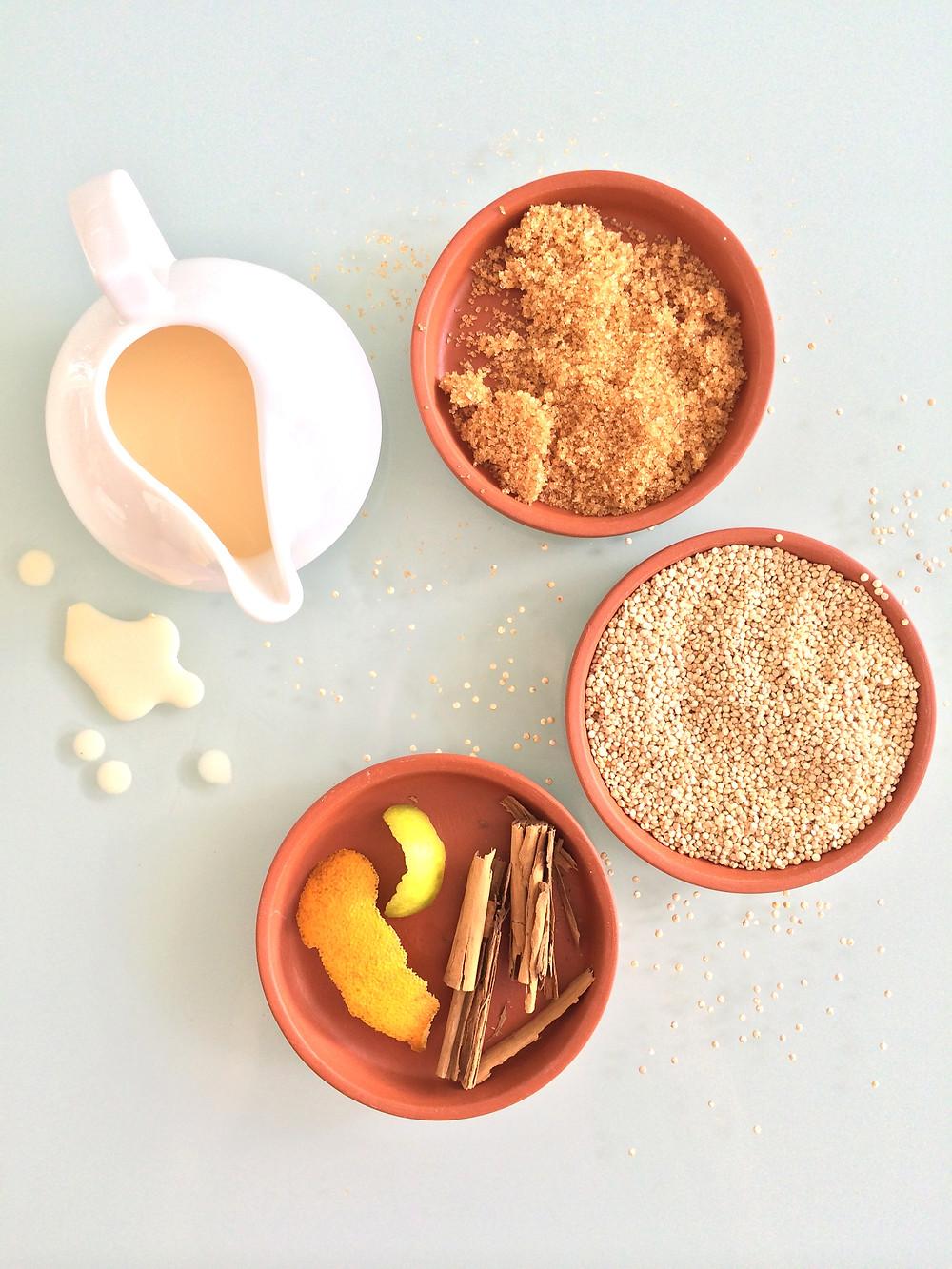 Ingredientes de la quinoa con leche