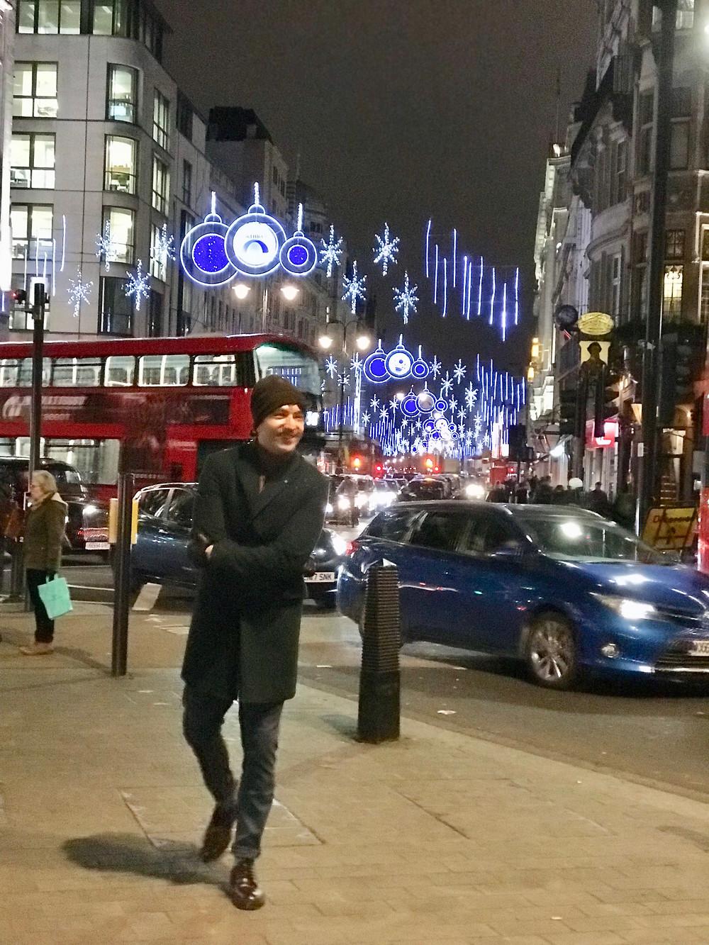 The Trendy Man en Oxford Circus en Navidad