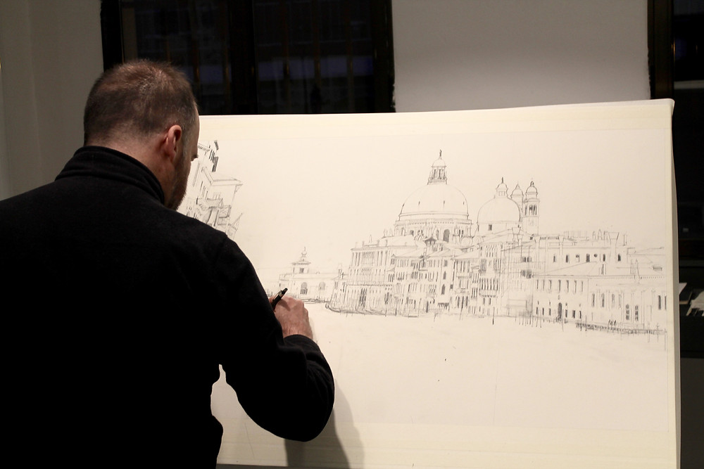 Charles Villeneuve trabajando en su última obra