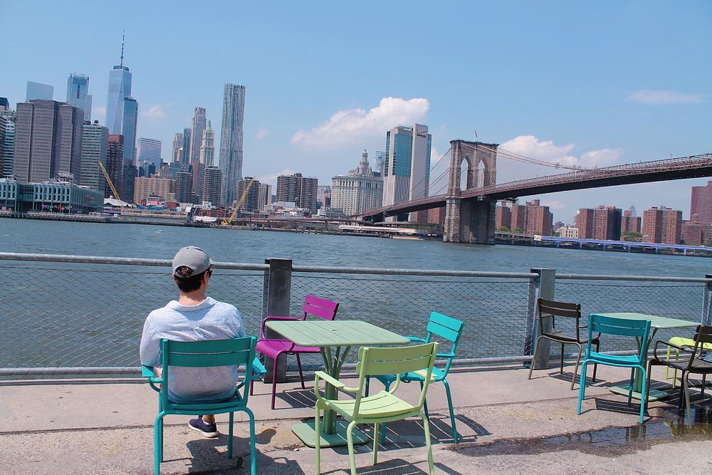 The Trendy Man viendo el skyline de Manhattan