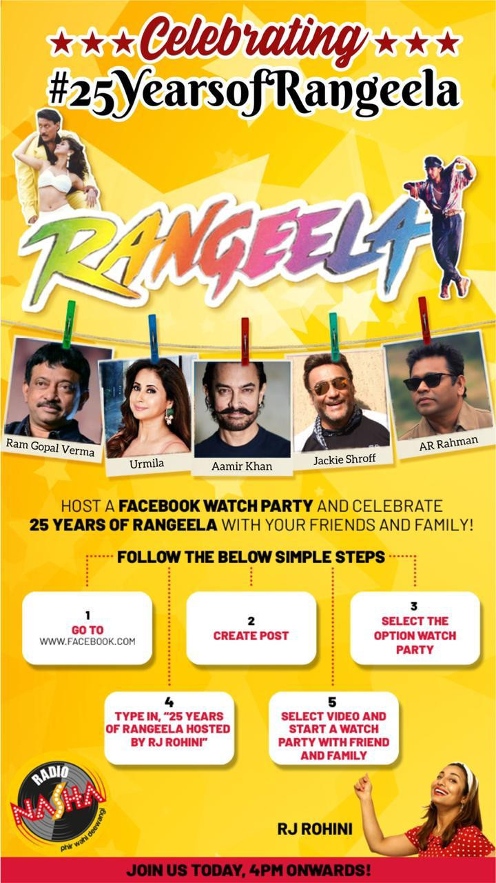 Join the one and only Rohini Ramnathan as she celebrates #25YearsOfRangeela with the mega stalwarts #JackieShroff #Aamirkhan #UrmilaMatondkar #RamGopalVerma & #ARRahman who brought this dream to life!   Follow the instructions in the image below to participate.