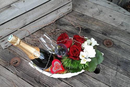 Coffret composition florale et champagne