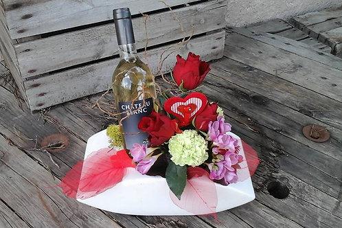 Coffret composition florale et vin blanc