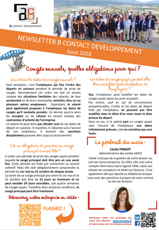 Newsletter Aout 2018