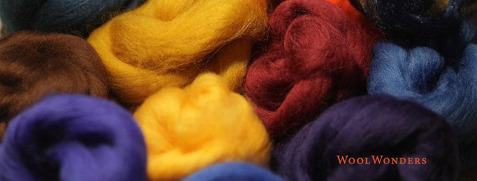 """PEACOCK"" KIT. Felting Wool Merino Fiber+3 Shades SilkyFibers and Roving"