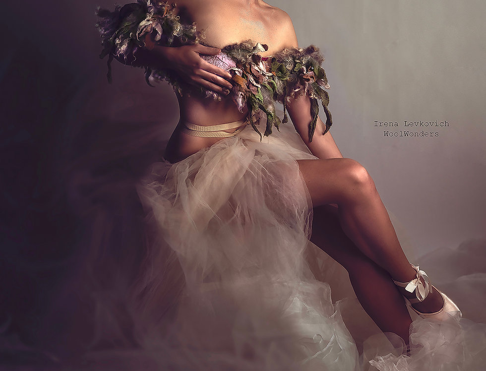 "Art Eco Fur Collar ""Peach Flower Blossom"""