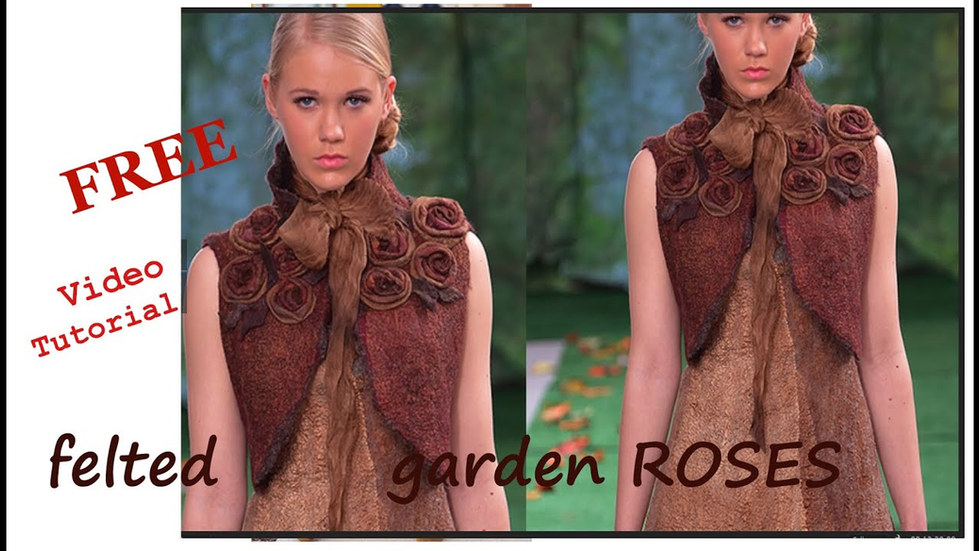 Felted Bolero garden Roses Video DIY Free video tutorial