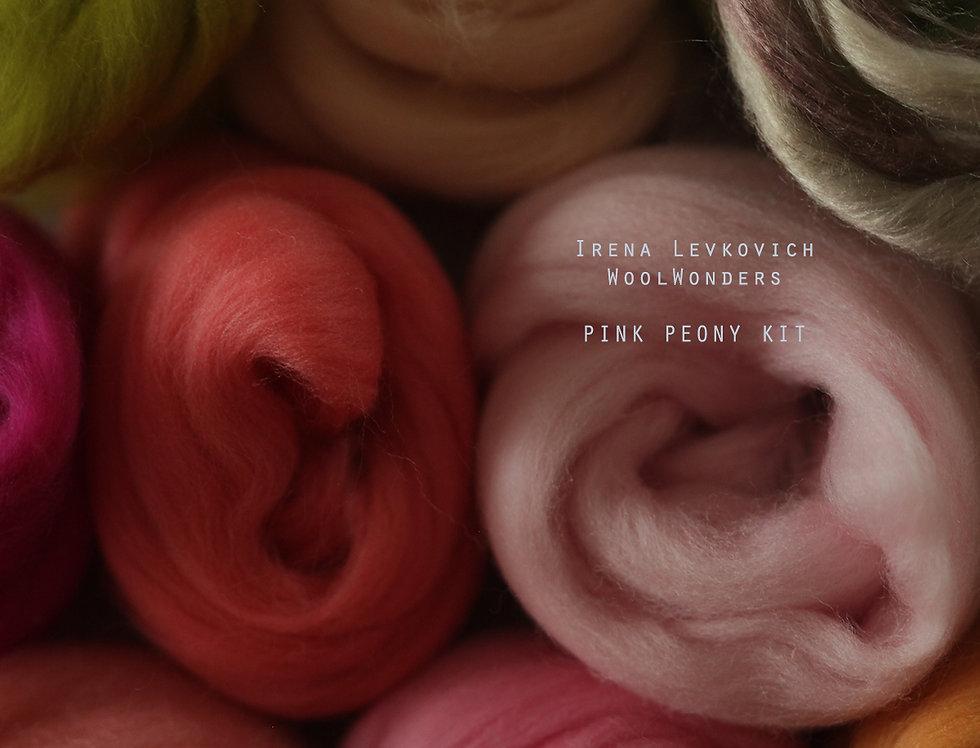 """PINK PEONY"" KIT. Felting Wool Merino Fiber+3 Shades SilkyFibers"