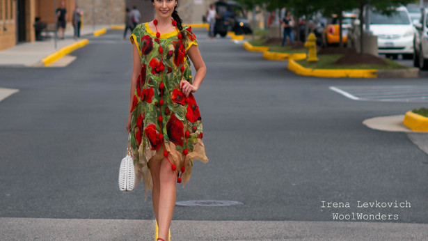 Felted Poppy Flower Dress Tutorial by Irena Levkovich