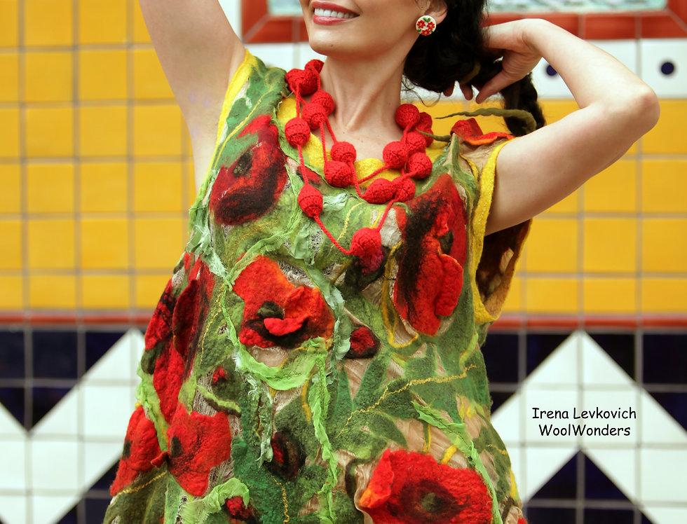 """Art dress """"Poppy Flowers Fields"""""""