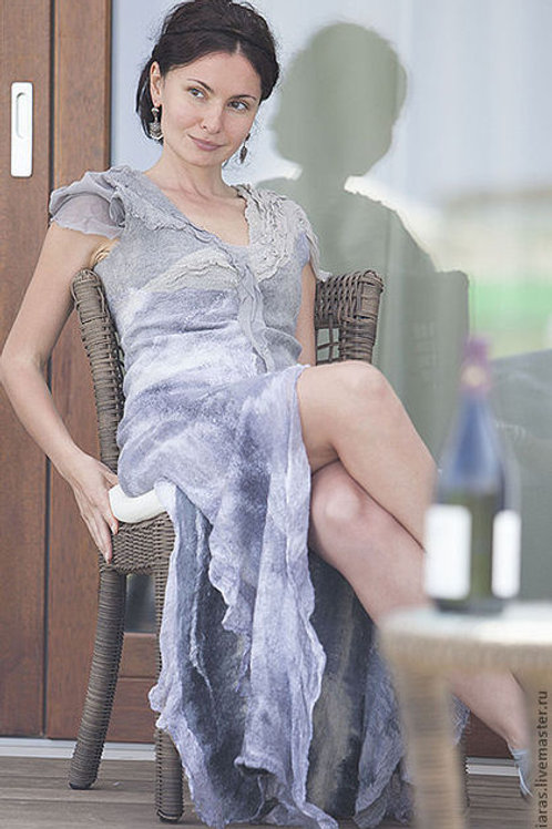 """Dress pattern """"LONG Grey dress"""" with Instructions"""