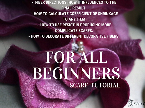 """FOR BEGINNERS in Felting: How to Make Scarf with Silk and Fibers"""" VIDEO"""
