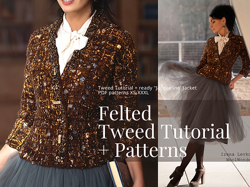 """TWEED STYLE"" Tutorial+ready 'Jacqueline"" brown tweed Jacket templates XS-XXXL"