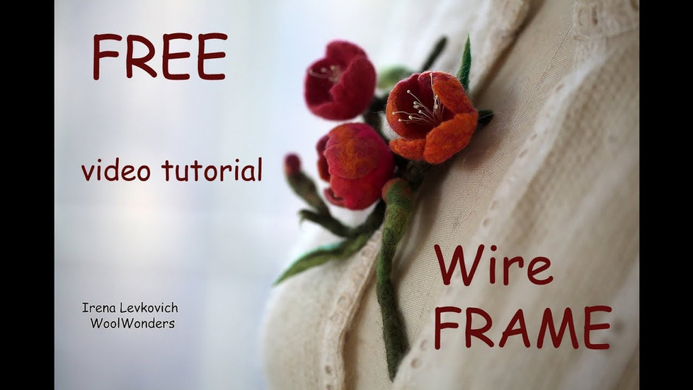 Felted Cherry blossom Brooch WireFrame Tutorial