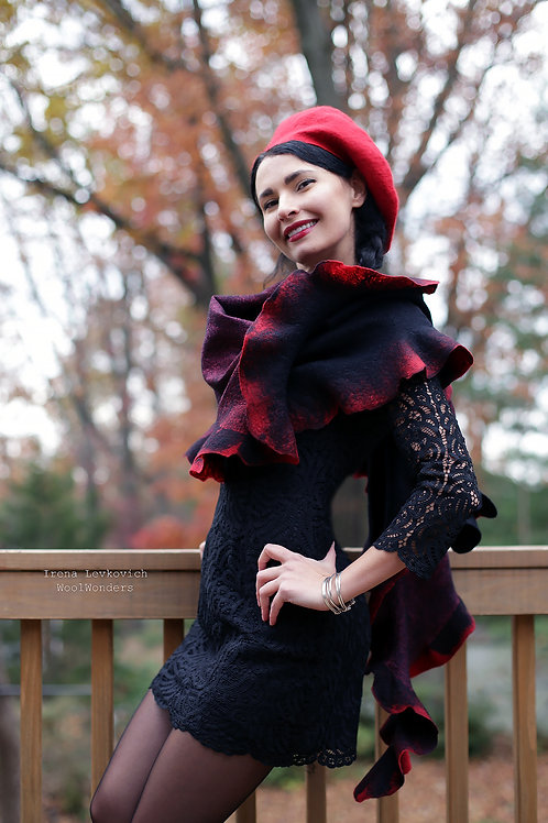 Two sided French Beret Merino/Silk