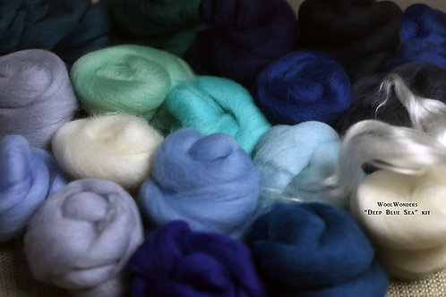 """Deep Blue Sea"" KIT. Felting Wool Merino Fiber+SilkyFibers"