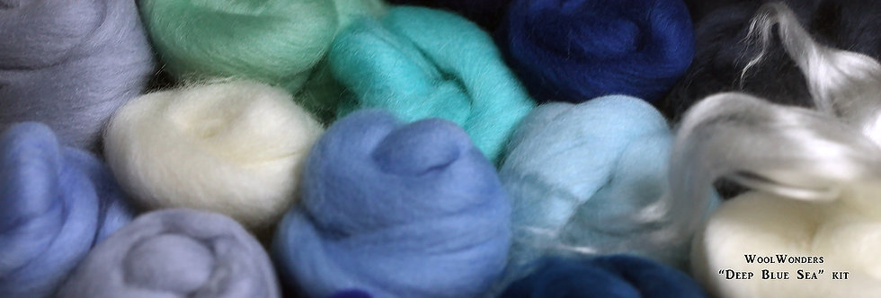 """Deep Blue Sea"" KIT. Felting Wool Merino Fiber+SilkyFibers"
