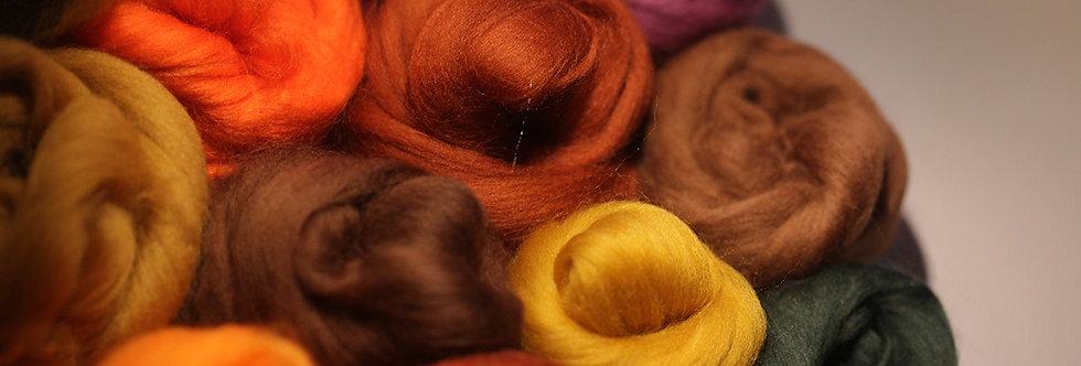 """CINNAMON"" KIT. Felting Wool Merino Fiber+3 Shades Silky Fibers and Roving Wool"