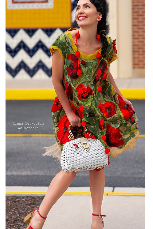 "Dress pattern for felting ""Poppy Flowers Fields"" with instructions"