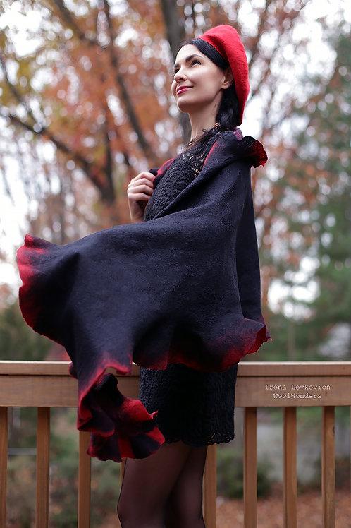 Large Shawl Black and Red  Merino/Silk