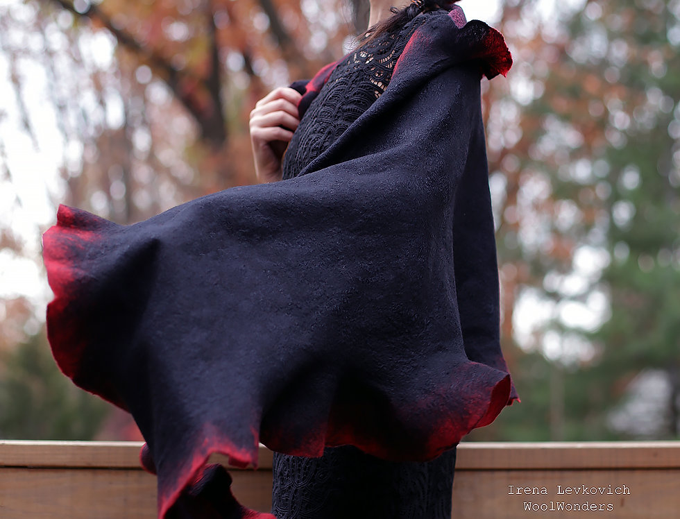 Large Shawl Black and Red  Merino/Silk