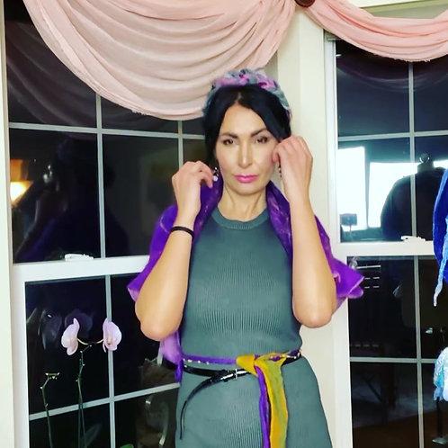 "Large Shawl ""Violet"" Merino/Silk"
