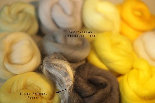 """ELEGANCE"" KIT. Felting Wool Merino Fiber+3 Shades SilkyFibers"