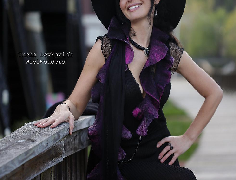 "Shawl ""Venetian Carnival"" Silk Merino Wool"