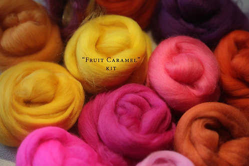 """FRUIT CARAMEL"" KIT. Felting Wool Merino Fiber+3 Shades SilkyFibers"