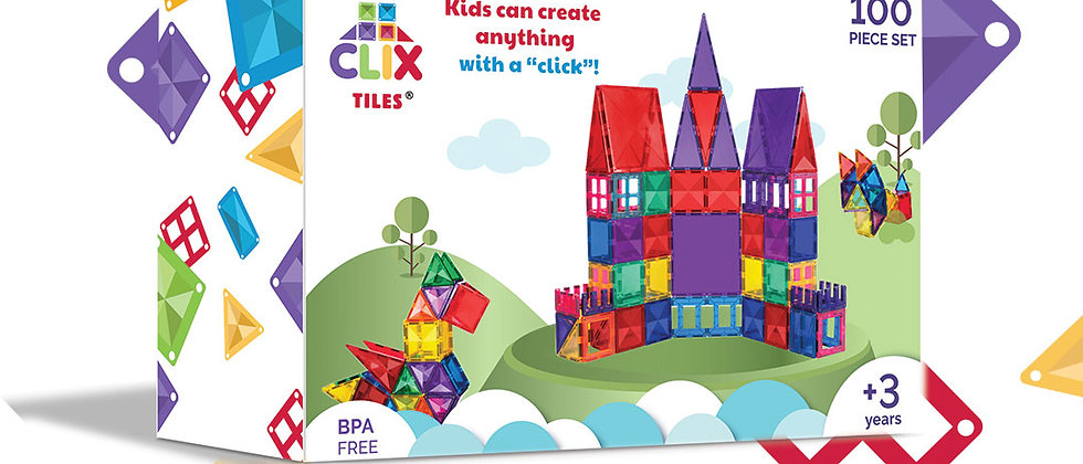 Clix Tiles magnetic building blocks 100 pcs