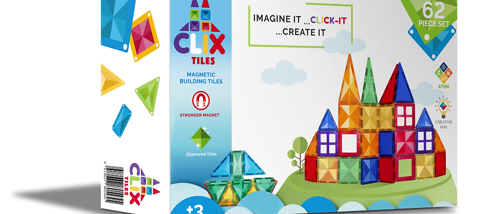 CLIX magnetic building blocks 62 pcs