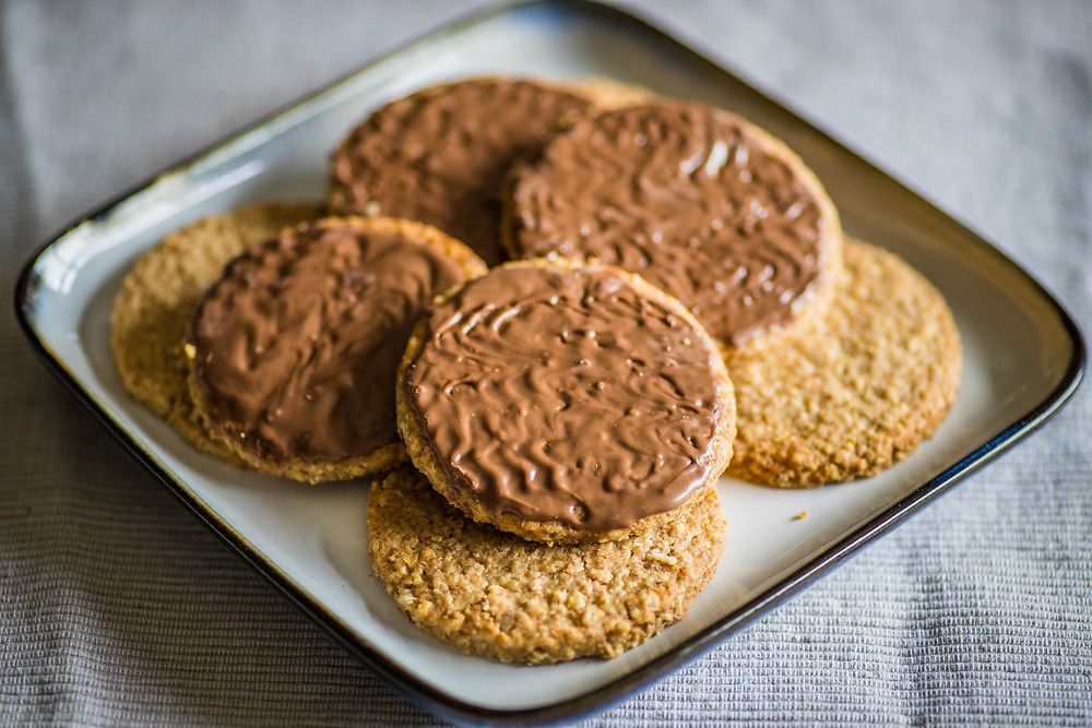 Digestive biscuits covered in milk chocolate