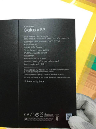 Samsung Galaxy S9 retail box leak shows device specs