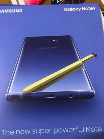 Poster leak reveals a Samsung Galaxy Note9 in purple with a yellow S Pen