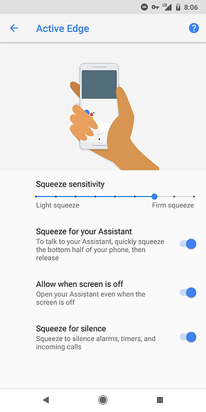 Active Edge (squeeze feature) will be on Pixel 3 and Pixel 3 XL