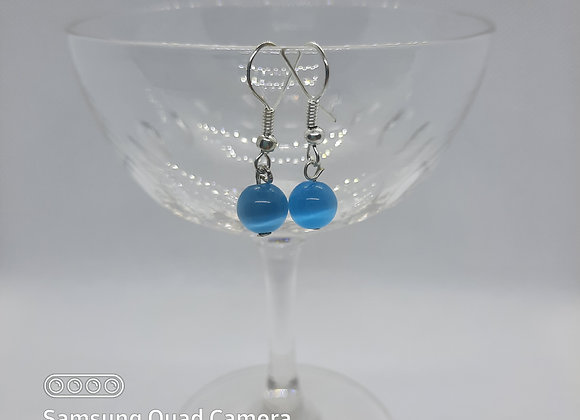 Cats Eye Gemstone Earrings - Light Blue