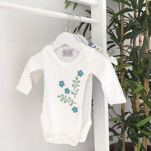 Perwinkle Hand-Printed Vintage Floral Babygrow