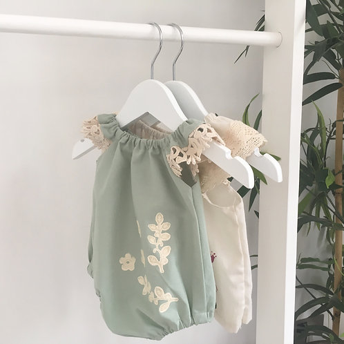 Mint Hand-Printed Organic Vintage-Style Romper