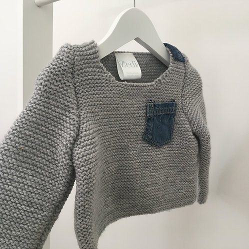 Hand Knitted Wool & Upcycled Denim Jumper