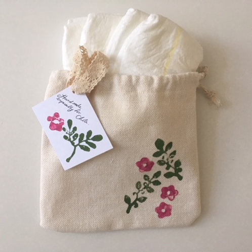 Hand-Printed Organic Vintage-Style Nappy Pouch