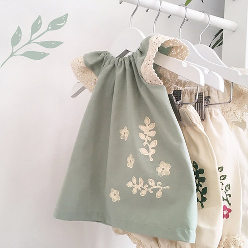 Mint Hand-Printed Organic Vintage-Style Top