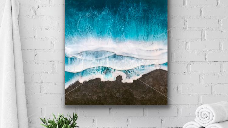 Black sand beach inspired ocean artwork