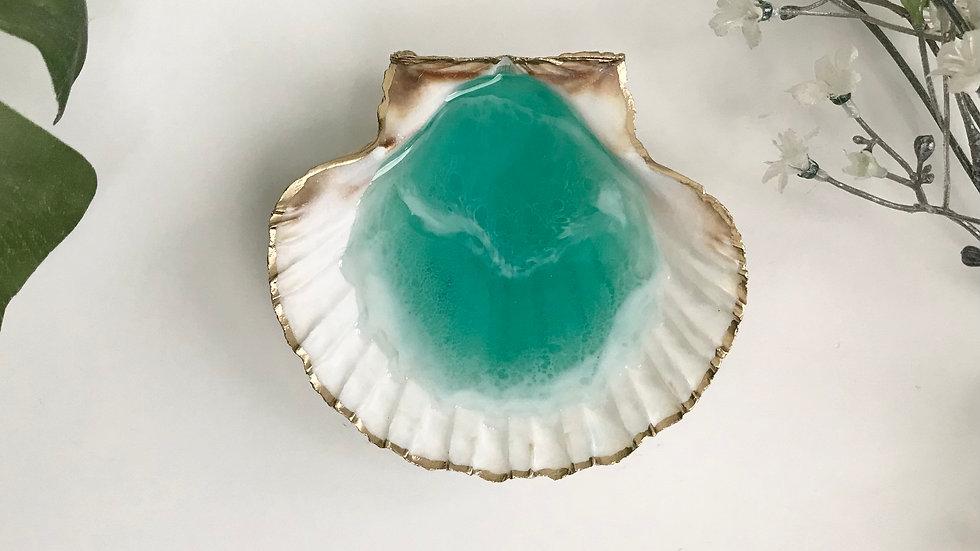 Scallop Shell Trinket / Ring dish - Sea green