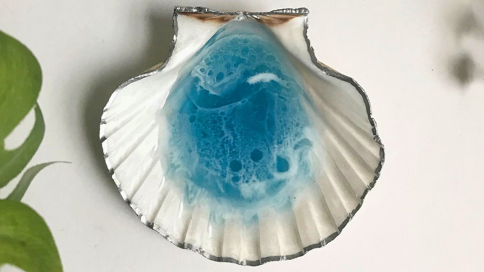 Scallop Shell Trinket / Ring dish - Blue