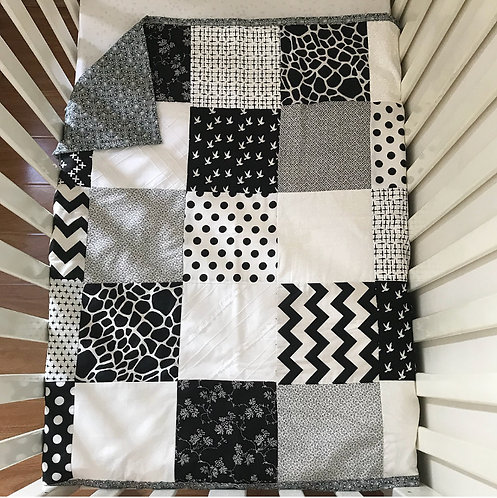 Monochrome Moments Patchwork Quilt (feat. Floral Backing)