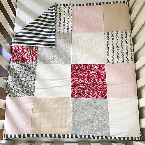 Poppy Patchwork Quilt (feat. Stripe Backing)
